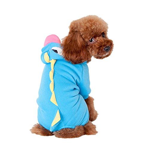 rtoon Dinosaurier Hoodie für kleine mittelgroße Hunde Katzen 2Farben optional Winter Dick Tier Kostüme Kleidung für Puppy Chihuahua Yorkshire Jack Russell Französische Bulldogge (Kostüme Für Französische Bulldoggen)