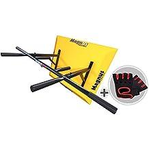 MAGNUS® POWER MP1034 - Barra de dominadas de montaje en pared (6 agarres) + GUANTES + Gancho para Sling Trainer / saco de boxeo