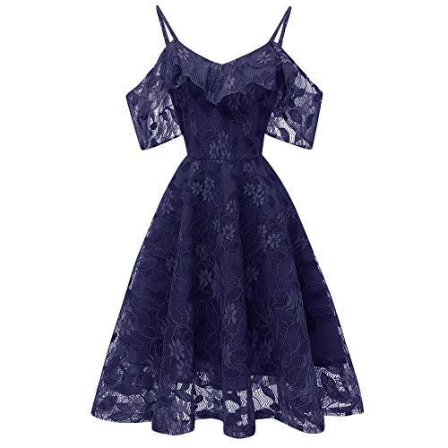 TWIFER Damen Vintage Prinzessin Blumenspitze Cocktail Ausschnitt Mädchen Party A-Linie Swing Kleider
