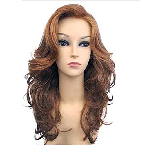 en teilweise Lange lockiges Haar Perücken goldene große Welle Flauschige Perücken Kleid Partei Perücken hohe Temperatur Seide 53cm * 225g ()
