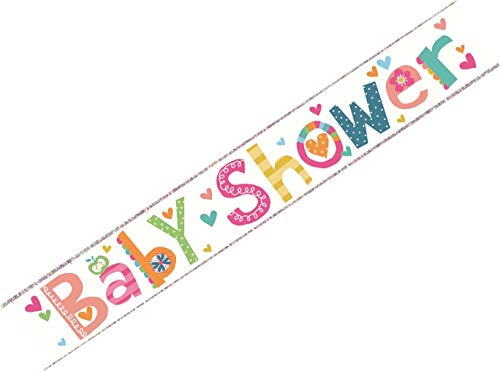 Baby Dusche Folie Party Banner - Monkey & Storks - Boy oder Girl Mum to Be