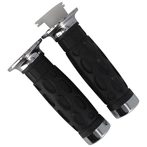 Xfight-Parts Handgriffgummi Paar mit Chromendkappen 22-24mm Länge 120mm 700382 für OBI Warrior 50