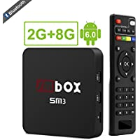Android TV Box – SMBOX SM3 Bluetooth 4.0 Android 6.0 TV Box, S905X Quad-Core, 2G RAM + 8G ROM, Built in 2.4G WIFI, LAN, 4K TV Box with HDMI Cable