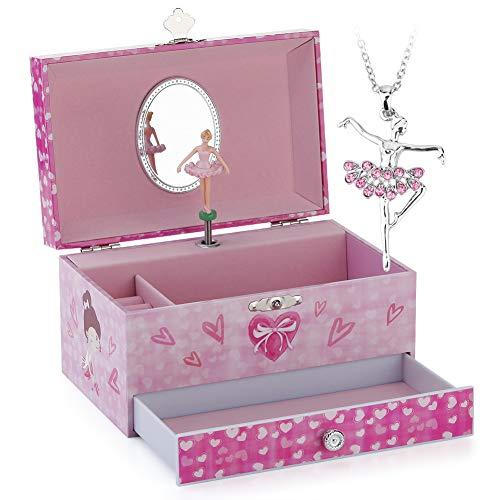 RPJC Kinder Musik - Glocke Schmuckkästchen - Box Speichern mit Schublade und Ballett Halsketten mit Hübsches Mädchen Thema - Wunderschön Träumer Tune Pink (Mädchen Hübsches)