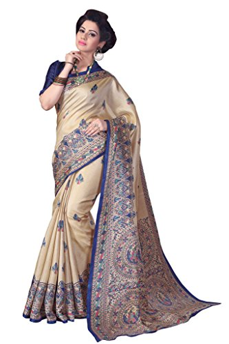 Mrinalika Fashion Silk Saree (4MDB8723B_Beige_Free Size)