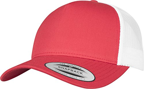 Flexfit 5-Panel Retro Trucker 2-Tone Cap Kape, Red/Wht, one size