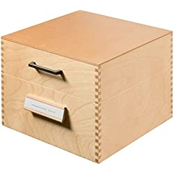 HAN 505, boîte à fiches en bois DIN A5 horiz., 900 fiches, fond métallique et séparateur métallique, bois naturel