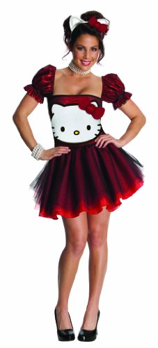 Hello Kitty Glitzer Damenkostüm Lizenzware rot-weiss -