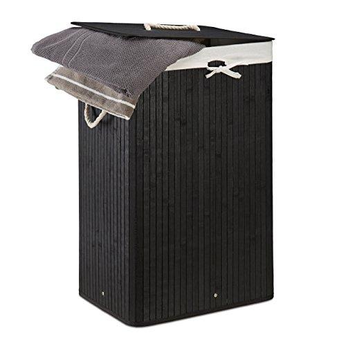 Relaxdays Wäschekorb Bambus, faltbare Wäschetruhe rechteckig, 83 L Volumen, HxBxT: ca. 65,5 x 43,5 x 33,5 cm, schwarz