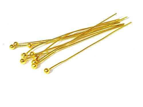 20 Kopfstifte - Nietstifte - Pin, 45x0,5mm, vergoldet, Z219/2