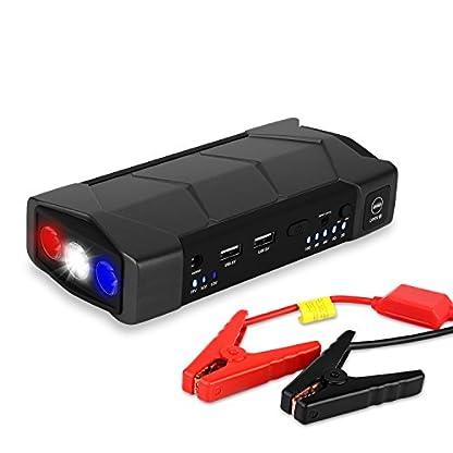 Arrancador de Coche de 10.800 mAh, YOKKAO, Jump starter Cargador para Baterías de 12V y Cargador de 12V, 16V, 19V, Batería Externa con Luces de Emergencia, Kit de Arranque para Coche, Moto y Cargador de Smartphone, Laptop, etc.