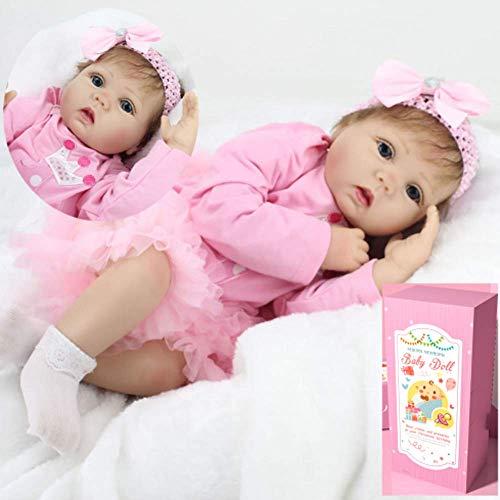 AIBAOLIAN Nouveau-Né Bébé 55cm 22 Pouce Bébé Reborn Poupée en Silicone Souple Jolie Fille en Rose Tenue Jupe Reborn Baby Doll Cadeau