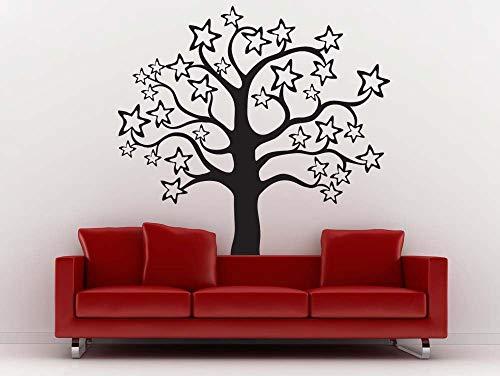 sanzangtang Das ganze Muster süße Sterne süße Baum Vinyl Wandaufkleber Home Kinderzimmer Schlafzimmer süße Art Deco Wandaufkleber Baum Wandbilder 108x117cm