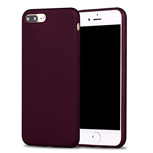 X-level Cover per iPhone 8 Plus,iPhone 7 Plus,Custodia Protezione in Morbida Silicone TPU,Ultra Sottile e Anti-Graffio, Cover Ultra Slim per iPhone 8 Plus/iPhone 7 Plus (5.5 Pollici)-Vino Rosso