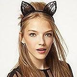 Alcoa Prime Fancy Dress Costume Black Wired Lace Cat Ears Halloween Headband Hen Night