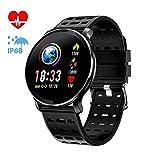 CanMixs CM10 Smart Watch Uhr, IP67 Wasserdichte Sportuhr Activity Tracker Smart Armband mit Pulsmesser, Kalorienzähler, Schlafmonitor für Damen und Herren Anruf SMS Push für Android iOS (Schwarz)