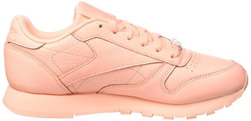 Reebok Classic Leather L Damen Niedrig Schuhe, Pink (Grit-peach Twist/sleek Met)
