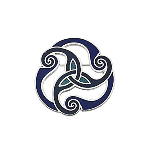 Sea Gems Blue Celtic Triskele Designed Brooch