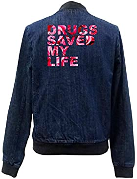 Drugs Saved My Life Roses Bomber Chaqueta Girls Jeans Certified Freak