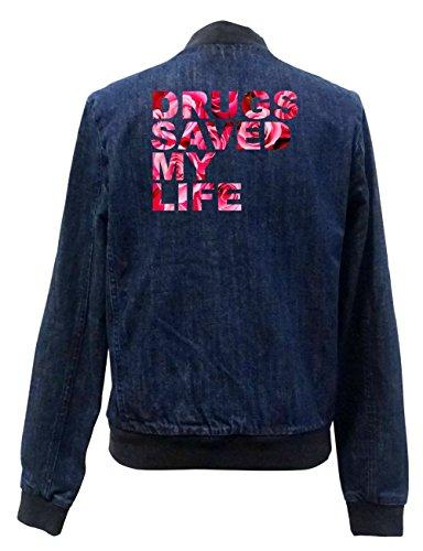 Drugs Saved My Life Roses Jeans Bomberjacke Certified Freak-L