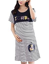 52237a4fe977 Kerlana Donna Camicia da Notte Strisce per maternità e Allattamento  Laterale per Camicia 100% Cotone