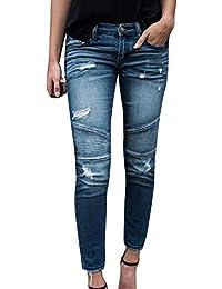 laamei Femme Rétro Jeans Déchirés Trous à Taille Haute en Denim Skinny  Pantalons Slim Crayon Pantalon ba07be60d791