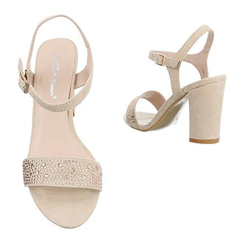 High Heel Sandaletten Damenschuhe Plateau Pump High Heels Schnalle Ital-Design Sandalen / Sandaletten Beige