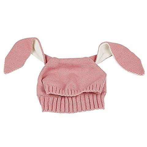 Alxcio Kinder Baby Hüte Hasenohren Strickmützen Cute Rabbit Style Hut Junge Mädchen Hüte - Rosa (Männer Frauen Fedora)