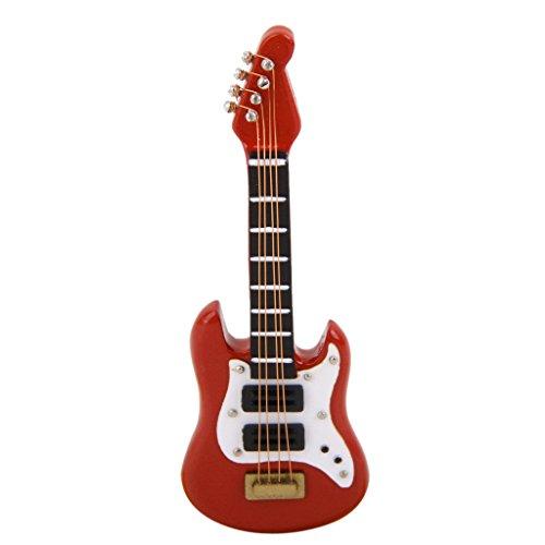 Gazechimp 1:12 Puppenhaus Miniatur Musikinstrument E-Gitarre aus Holz Rot für Puppen Sammlung
