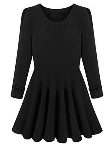 Geraffter Saum Pullover Langarm Casual Kleid für Damen Schwarz - Schwarz