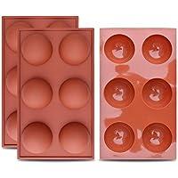 homEdge Molde grande de silicona semiesfera de 6 cavidades, 3 paquetes de moldes para hornear