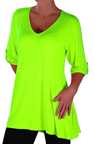 lie Damen V-Ausschnitt Tunika Übergröße Frauen Ausgestelltes Langes Top (Neon Shirt)
