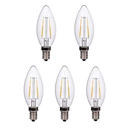 HimanJie 5er E14 LED Kerzenlicht 2W Warmweiss Glühfaden LED Kerze Filament Lampe Fadenlampe LED Candle Light Bulb Flammenspitze Chandelier 220V