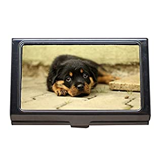Business Card Holder Wallet Credit Card ID Case,Rottweiler Puppy Dog Background Thoroughbred,Business Card Case Stainless Steel