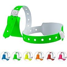 linie zwo®, Pack de 100 pulseras de seguridad de PVC, 3 capas, Verde neón