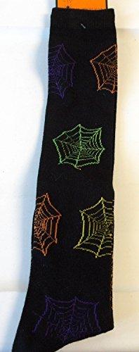 halloween-knee-high-socks-spiderwebs-spider-web-black-womens-4-10-nwt