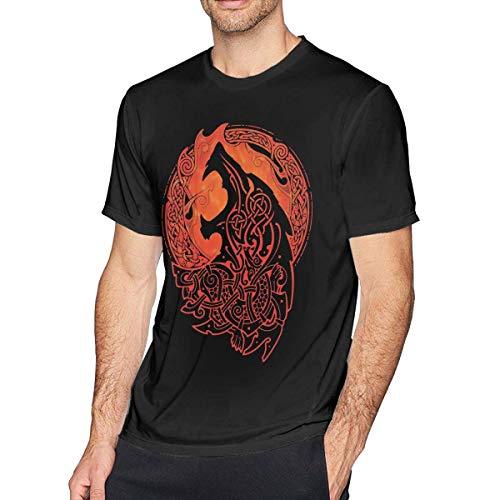 YANNAN Mens Vintage Fenrir Wolf Odin T-Shirts Black