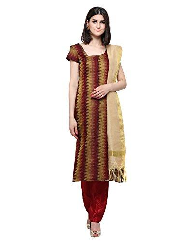 Inddus Maroon Banarasi Cotton Woven Dress Material For Women/Unstitched Salwar Kameez /...
