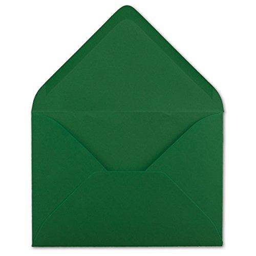 100 DIN C6 Briefumschläge Dunkelgrün - 11,4 x 16,2 cm - 120 g/m² Nassklebung Brief-Hüllen ohne Fenster für Einladungen von Ihrem Glüxx-Agent