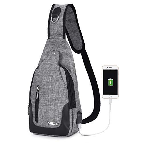 Vbiger Brusttasche Sling Rucksack Schultertasche Brusttaschen für Damen und Herren Daypack Militär Sporttasche, Stil1-grau, One size, Stil1-grau, One size -