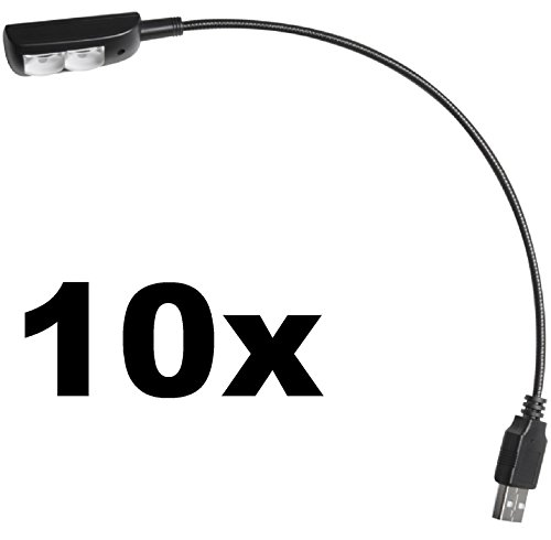 10 x ADAM HALL Superhelle SLED-1-USB-PRO LED-USB-Notebook-Tablet-Laptop-Schwanenhals-Lese-Lampe-Leuchte-Licht Flexilight Minilight SLED1USBPRO -
