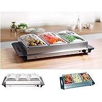 Garden Mile grande capacité 3 Poêle Acier Inoxydable électrique Buffet Display Chauffe-plats, 300w Portable Plaque…