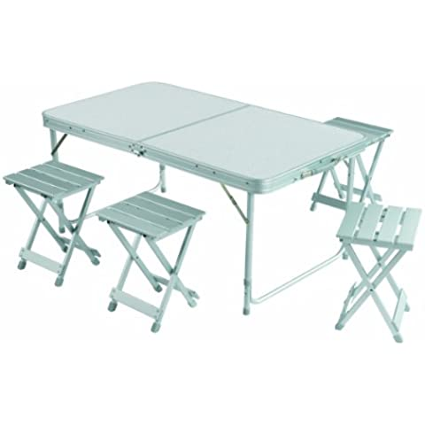 Gran Canyon - Juego de mesa maleta incl.4 taburetes, plegable, aluminio, plateado