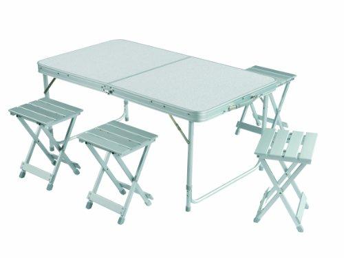 Grand Canyon Alu Table Set For 2 Avec 2 Tabourets Inclus Pliable Aluminium Pour 2 Ou 4 Personnes