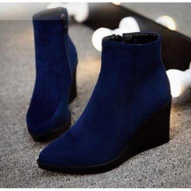 Damen Stiefel Comfort PU Spring Casual Keilabsatz Blau Rot Schwarz