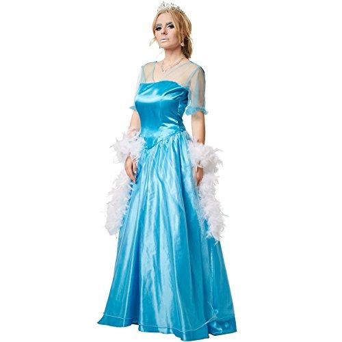 Kostüm Frauen Elsa - dressforfun Frauenkostüm Eisprinzessin | Seidig glänzendes Einteiler-Kleid mit Überrock aus edlem Organza (L | no. 301890)