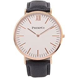 Prempco - Nobel Men's Watch - Ivory White/Rose Gold - Quick Change Watch Wrist Band in Black