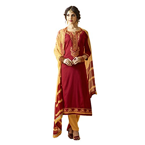 Sheknows Maroon & Beige Colour Cotton Un Stitched Dress Material(PTHSK10088AND_3)