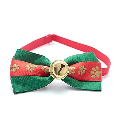 Weihnachten Kostüm Hund Footprints Haustier Fliege Halsband verstellbar Bowties Krawatten mit Glocke Haustierpflege Zubehör (Hund Tragen Weihnachten Kostüm)