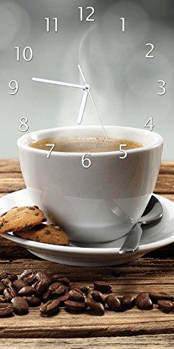 Wallario Design Wanduhr Heiße Tasse Kaffee mit Kaffeebohnen aus Acrylglas, Größe 30 x 60 cm